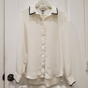 H&M White Button Up Blouse with Black Accents